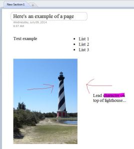MS OneNote Detailed Page Example